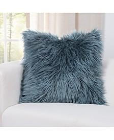 Llama Teal Faux Fur  Designer Throw Pillow