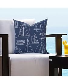 "Siscovers Regatta Blue Indoor-Outdoor 16"" Designer Throw Pillow"