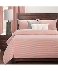 Everlast Stripe Apricot Stain Resistant 6 Piece Queen Duvet Set
