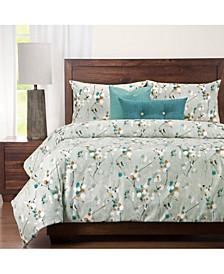 Hamton Contemporary Floral 6 Piece King Luxury Duvet Set