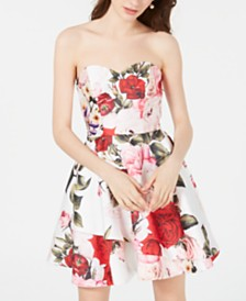 B Darlin Juniors' Strapless Printed Fit & Flare Dress