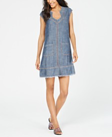 Trina Turk Frayed-Hem Chambray Dress