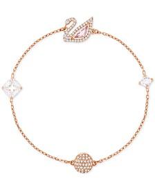 Remix Rose Gold-Tone Crystal Swan Magnetic Bracelet