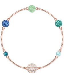 Remix Rose Gold-Tone Multicolor Pavé Fireball & Bead Magnetic Bracelet