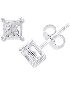 EFFY® Diamond Princess Stud Earrings (1 ct. t.w.) in 14k White Gold