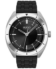 HUGO Men's #Style Black Rubber Strap Watch 42mm