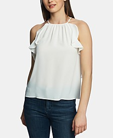 Ruffle-Trim Halter Top
