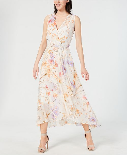 Calvin Klein Floral-Print High-Low Wrap Maxi Dress