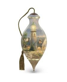 NeQwa Art A Light In The Storm Artist Thomas Kinkade Brilliant-Shaped Glass Ornament