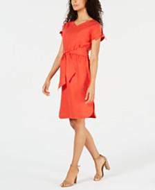 Anne Klein Belted Cold-Shoulder Dress