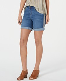 Style & Co Embroidered Cuffed Denim Shorts, Created for Macy's