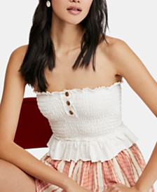Free People Babe Cotton Peplum Tube Top