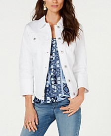 Petite Wide Cuff Denim Jacket, Created for Macy's