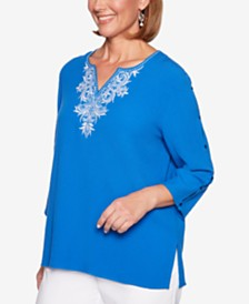Alfred Dunner Waikiki Embroidered Studded Tunic
