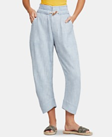 Free People Paradise Toggle-Waist Capri Jeans