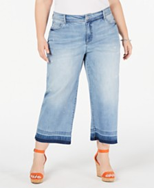 I.N.C. Plus Size Cropped Culotte Jeans, Created for Macy's