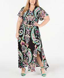 I.N.C. Plus Size Printed Smocked-Waist Maxi Dress, Created for Macy's