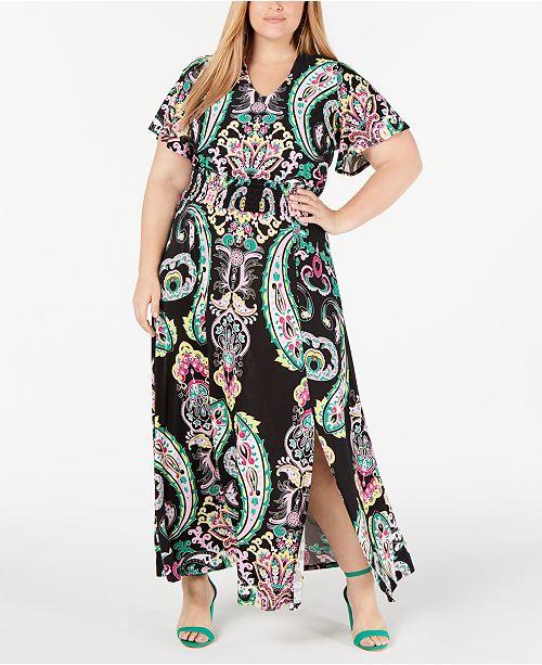 I.N.C. Plus Size Printed Smocked-Waist Maxi Dress, Created ...