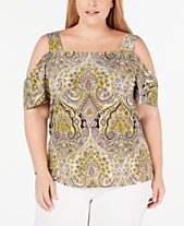 e7a44711cb62ab I.N.C. Plus Size Printed Cold-Shoulder Top, Created for Macy's