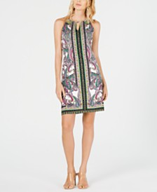 I.N.C. Printed Halter Sheath Dress, Created for Macy's