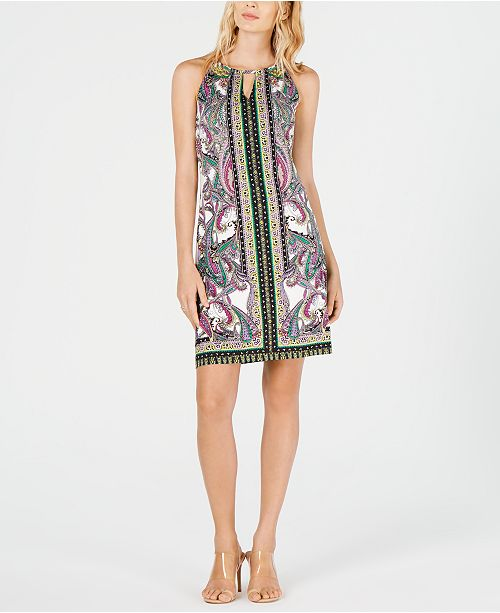 INC International Concepts I.N.C. Petite Printed Halter Dress, Created for Macy's