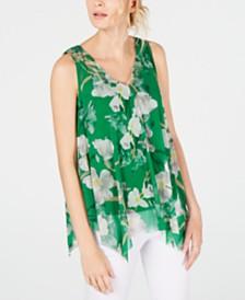 I.N.C. Printed Handkerchief-Hem Top, Created for Macy's
