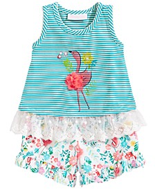 2-Pc. Flamingo Tunic & Floral-Print Shorts Set