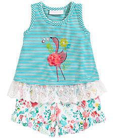 Bonnie Baby 2-Pc. Flamingo Tunic & Floral-Print Shorts Set