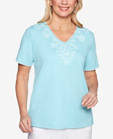 Alfred Dunner Catalina Island Appliqué-Trim Top
