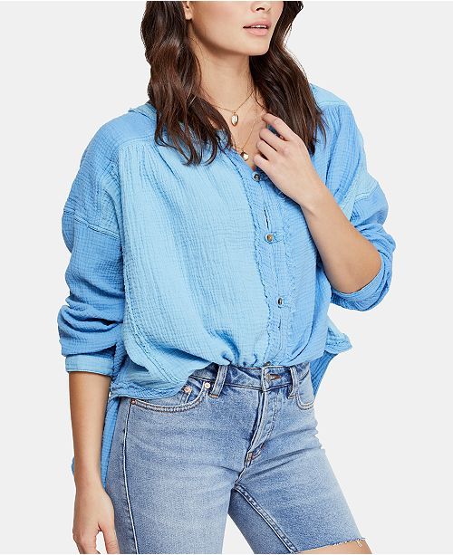 Free People Moving Mountains Cotton Frayed-Trim Top