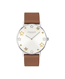 Women's Perry Saddle Leather Strap Watch 36mm, Created for Macy's