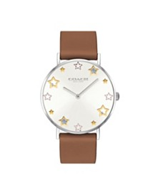 COACH Women's Perry Saddle Leather Strap Watch 36mm, Created For Macy's