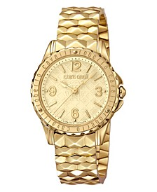 By Franck Muller Women's Swiss Quartz Gold Stainless Steel Bracelet Gold Dial Watch, 34mm