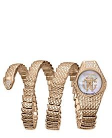 By Franck Muller Women's Diamond Swiss Quartz Rose Gold Stainless Steel Snake Wrap Bracelet, 23mm