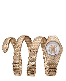 Roberto Cavalli By Franck Muller Women's Diamond Swiss Quartz Rose Gold Stainless Steel Snake Wrap Bracelet, 23mm