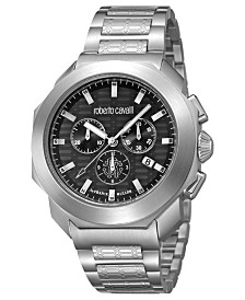 Roberto Cavalli By Franck Muller Men's Swiss Black Chronograph Silver Stainless Steel Bracelet Watch, 44mm