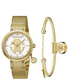 Roberto Cavalli By Franck Muller Women's Swiss Quartz Gold-Tone Stainless Steel Watch & Bracelet Gift Set, 34mm