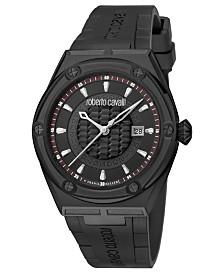 Roberto Cavalli By Franck Muller Men's Swiss Quartz Black Rubber Strap Watch, 45mm