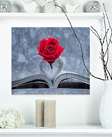 "Designart 'Red Rose Inside The Book' Floral Metal Wall Art - 20"" X 12"""