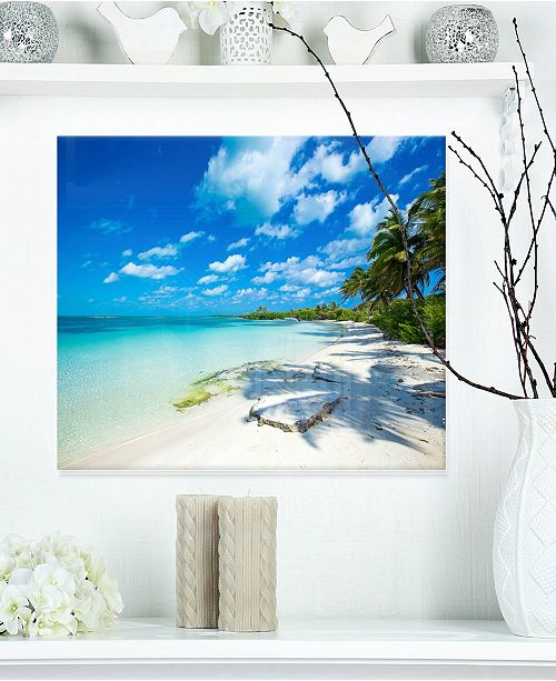 "Design Art Designart 'Tropical Beach With Palm Shadows' Large Seashore Metal Wall Art - 20"" X 12"""