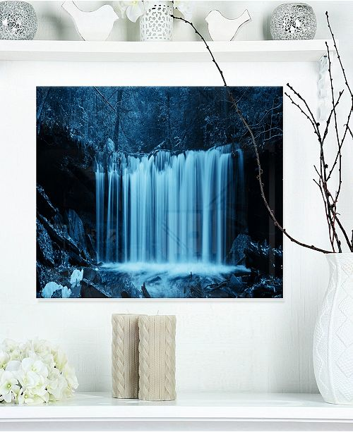 "Design Art Designart 'Waterfalls In Wood Black And White' Landscape Metal Wall Art - 20"" X 12"""