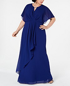 Plus Size Draped Flutter-Sleeve Gown