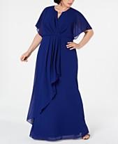 fbd69bd48a2 XSCAPE Plus Size Draped Flutter-Sleeve Gown