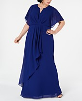 989ac5dd076 XSCAPE Plus Size Draped Flutter-Sleeve Gown