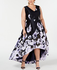 XSCAPE Plus Size Floral-Print High-Low Gown