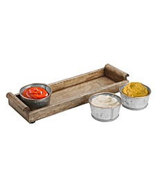 Wood Tray with 3 Galvanized Bowls