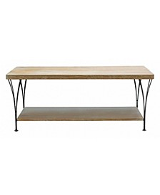 "Alaterre Thetford 45"" W Weathered Natural Coffee Table with Shelf"