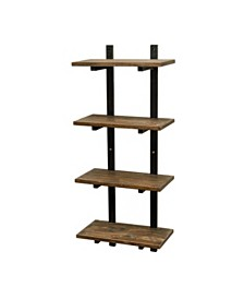 """Alaterre Pomona 48"""" H Metal and Solid Wood Wall Shelf"""