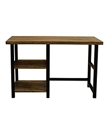 "Alaterre Pomona 48"" W Metal and Solid Wood Desk with 2 Shelves"