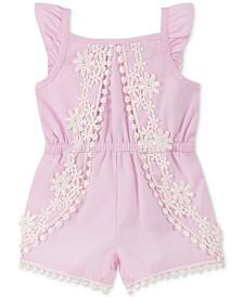 Calvin Klein Baby Girls Flutter-Sleeve Chambray Romper
